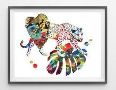 Cheetah Watercolor Print cheetah poster cheetah by MimiPrints