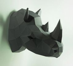 Cabeza de rinoceronte, Animal cabeza, cabeza de rinoceronte, Rhino máscara, papercraft, DIY, baja poli, trofeo, papermodel, decoración de la pared