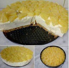 Τσιζ κέικ Ανανά !!! Εύκολο, δροσερό, με αέρινη κρέμα και τραγανό μπισκότο! Στη κρέμα έχει ζελέ ανανά! Χωρίς αυγά! 18 μπισκότα Digestive (η 20 Πτι Μπερ) 3 κ.σουπας βούτυρο(θερμοκρασία δωματίου) 1γαλα εβαπορε 400γρ (κρύο από ψυγείο) 6κ.σουπας κόφτες ζάχαρη 2 κεσεδάκια Philadelphia