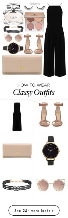 """Classy Lady"" by itsdeema on Polyvore featuring Warehouse, Prada, Gianvito Rossi, MANGO, Olivia Burton, Humble Chic, Gucci and Anastasia Beverly Hills"