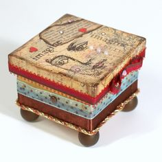Mixed Media Trinket Box Decoupaged Jewelry Box by rrizzart