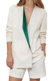 19409fda eBay #Sponsored Akris NEW White Ivory Women's Size 12 Lapel-Collar Linen  Jacket $3590
