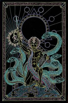 The Hermit - Enlightenment from the Womb by Lakandiwa on DeviantArt Alchemy Art, Dark Humour Memes, Esoteric Art, Band Wallpapers, Dark Art Drawings, Occult Art, Sad Art, Psychedelic Art, Creature Design