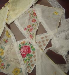 Vintage Floral Handkerchief Bunting/Garland/Swag/Banner-Weddings, Baby Showers, Birthday Parties, Country Chic Decor. $30.00, via Etsy.