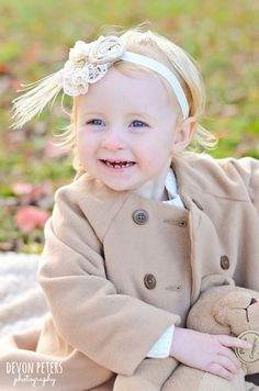 Babies | Kids - Devon Peters Photography stylish, two 2 year old, headband, tan pea coat, trendy, fall, autumn, outfit ideas, smile, blonde hair, blue eyes, teddy bear