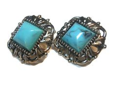 Chunky marbled faux turquoise Thermoset by maggiescornerstore, $22.00