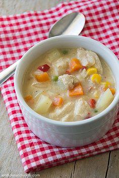 Chicken pot pie soup recipe - 6 WW Points+ / ProPoints per serving.