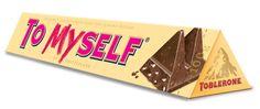 Toblerone To My Self chocolate packaging Toblerone, Chocolate Packaging, Almond, Candy, Switzerland, Creative, Room Ideas, Inspired, Food