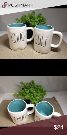 Gulp and Chug mug set Super cute Rae Dunn mugs with turquoise interior. $13 each or $24 for both RAE DUNN Other