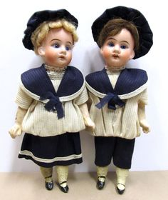 Wonderful all original antique German bisque head dolls. This delightful pair of twins are in excellent condition with perfect bisque heads and inset blue glass eyes. You might see residue of baking powder (I lightly cleaned faces) around eyes - I couldn't see it but my camera did. | eBay!