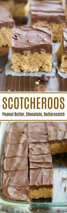 The BEST NO BAKE treat!! Scotcheroos are a peanut butter rice crispy bar with a chocolate and butterscotch topping. This easy dessert is BEST and the perfect summer treat! | tastesbetterfromscratch.com