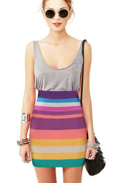 Colorful Stripes Printing Figure-hugging Color Block Skirt[I would have gone with a closely matching green or teal  instead of the grey... to complete the look and chosen to carry a multicolor striped bag [like a crocheted draw-string] I love the skirt so I would tweak to finish the look top to bottom... just sayin