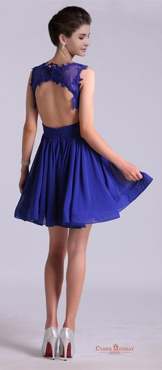 2016 Hot Selling Homecoming Dresses Scoop A-Line Short/Mini Chiffon Dark Royal Blue Item Code: #CMDP8RLJ966