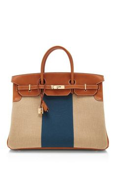 Hermes 40Cm Natural Barenia Leather And Canvas Limited Edition Flag Birkin by Heritage Auctions Special Collections for Preorder on Moda Operandi