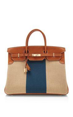 1519a2cfa8d4 Hermes 40Cm Natural Barenia Leather And Canvas Limited Edition Flag Birkin   hermes  flag Hermes