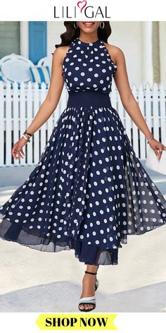 Summer Navy Blue Keyhole Back High Waist Polka Dot Print Flare Chiffon Maxi Dress - Summer Navy Blue Keyhole Back High Waist Polka Dot Print Flare Chiffon Maxi Dress Source by linacozmic - Mode Outfits, Dress Outfits, Casual Dresses, Fashion Dresses, Vestidos Vintage, Iranian Women Fashion, Chiffon Maxi Dress, Maxi Dresses, Club Party Dresses