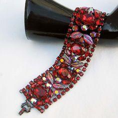 Siam Red Rhinestone Cuff Bracelet - Vintage Inspired. 195.00, via Etsy.