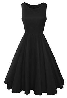 Anni Coco® Women's Classic 1950s Vintage Hepburn Dresses Black Large