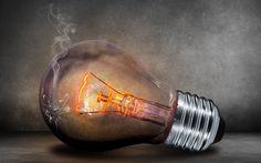 broken lamp, light bulb, smoke, creative