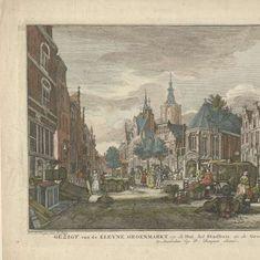 Gezicht op de Dagelijkse Groenmarkt te Den Haag, Paulus Constantijn la Fargue, 1764 - Rijksmuseum