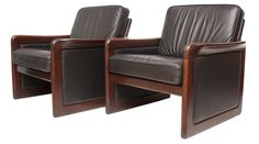 Pair of Danish Rosewood and Leather Armchairs by Dyrlund