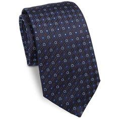 Salvatore Ferragamo Gancini Embroidered Silk Tie ($133) ❤ liked on Polyvore featuring men's fashion, men's accessories, men's neckwear, ties, tie, mens ties, mens silk ties and mens navy tie