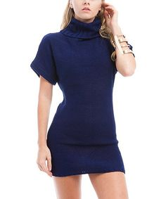 Take a look at this Navy Turtleneck Sweater Dress by Buy in America on #zulily today!
