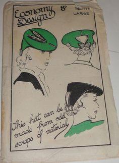 Economy Design 111 Tilt Hat Pattern Large UNCUT Vintage 1940s WW2 era UK  Mend and Make Do