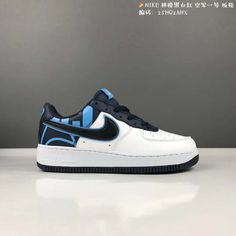 new photos 9f48d 44b95 Pas Cher Nike Air Force 1 Low Greyish White blanc Iron Blue Black Noir Youth  Big