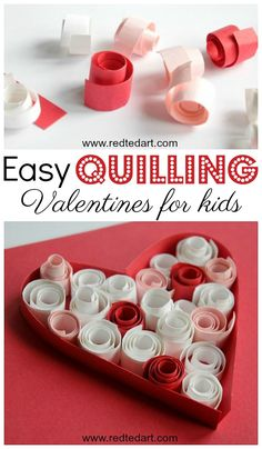 Red Ted Art's Easy Quilling for kids. Learn the basics of Paper Quilling with these great Paper Quilled Heart Cards for Valentines Day. #valentines #valentinesday #valentinesdaycards #valentinescards #hearts #papercrafts #quilling