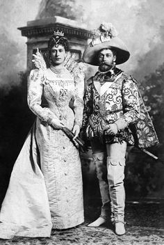 The Duke and Duchess of York (later King George V and Queen Mary) dressed as 16th century courtiers in the 1897 costume ball at Devonshire.