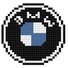 BMW Hama Beads Design, Hama Beads Patterns, Beading Patterns, Knitting Patterns, Auto Logos, Cross Stitch Christmas Ornaments, Crochet For Boys, Seed Bead Bracelets, Knitting Charts