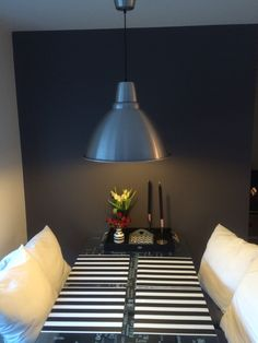Dining table .   #livingroom #silver #black #white #grey #stripes #nordicstyle