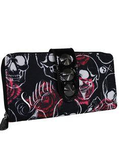 """Rose Skull"" Wallet by Sullen Clothing (Black)"