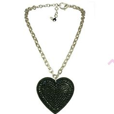 Tarina tarantino big love heart necklace Never been worn silver chain with black heart comes with pink bag Tarina Tarantino Jewelry Necklaces