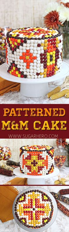 Patterned M&M Cake -this gorgeous cake is decorated just with M&M candies! | From SugarHero.com