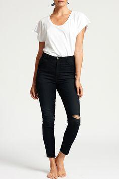High Waisted Skinny Jean in Black - Bohemian Traders Pty Ltd