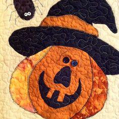 Quilted Halloween Table Runner Appliquéd Pumpkin by autumnelan