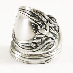 Art Nouveau Fuchsia Flower Sterling Silver Spoon Ring by Spoonier