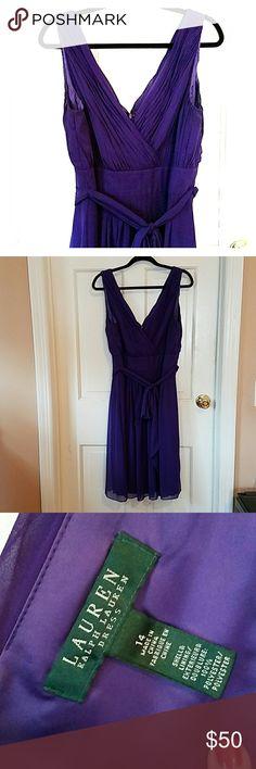 Ralph Lauren Dress EUC EUC Purple Ralph Lauren Dress size 14 Zipper back, with snaps in shoulder to attach to bra if needed Ralph Lauren Dresses