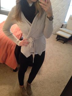 simple, black skinny jeans and neutral sweater