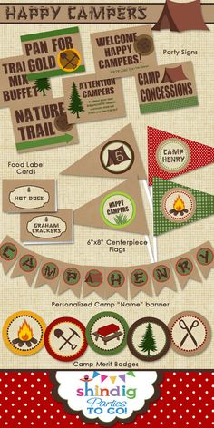 shindigparties...camping printable collection
