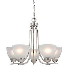 5 Light Chandelier In Brushed Nickel With Led Option