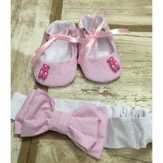 Sapatinho para bebê, modelo bailarina com lindo botão de sapatilhas de ballet!! E uma linda faixa de cabelo combinando o look!!