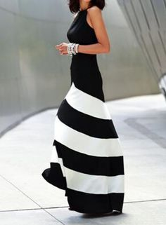 Black White Sleeveless Striped Ankle Length Dress -SheIn(Sheinside) Mobile Site