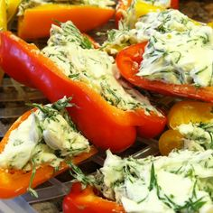 Sweet peppers filled with cream cheese & fresh dill. A simple, healthy snack :)