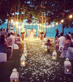 Beach wedding with lights