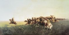 An Attack of Zaporozhian Cossacks in the Steppe Franz Roubaud, 1881