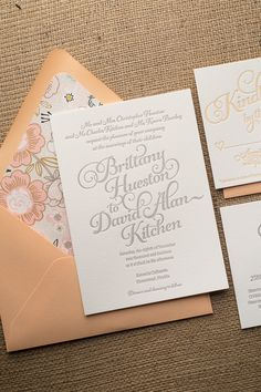 KATHRYN Suite Rustic Package, peach, blush, floral, silver, soft pink. letterpress wedding invitations, black friday wedding deals, calligraphy wedding invitations, viral on Pinterest, perfect for your Spring 2015 wedding!