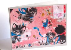 Thank You Card with Cats : Cute Vintage Style Pink by WingedPony